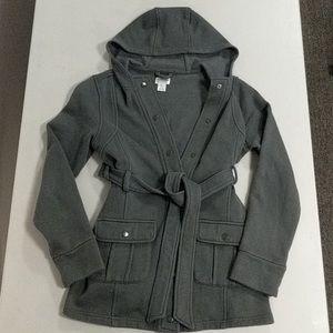Motherhood Maternity Hooded Jacket w/ Belt, Small